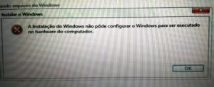 Windows não pôde configurar o Windows para ser executado no hardware do computador