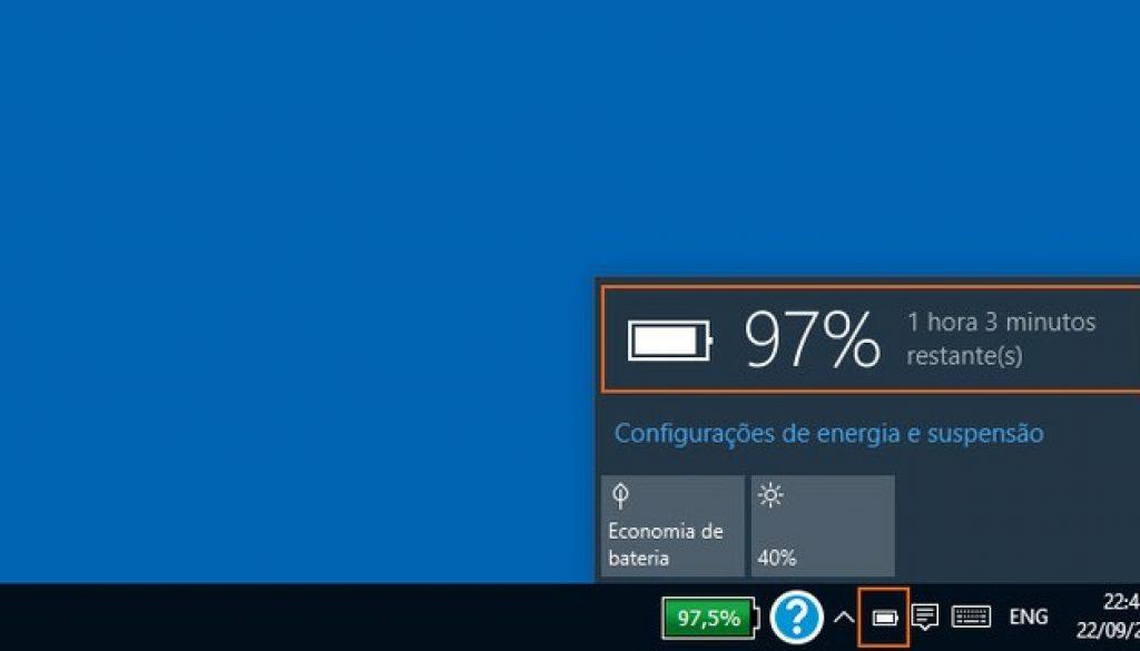 ícone bateria windows 10