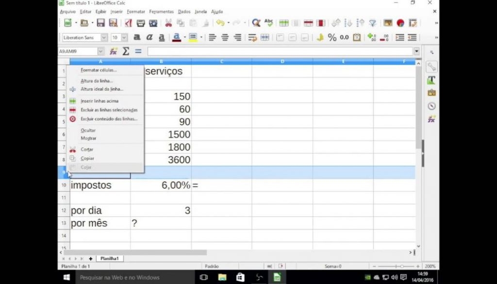 Aula básica de Excel e Calc