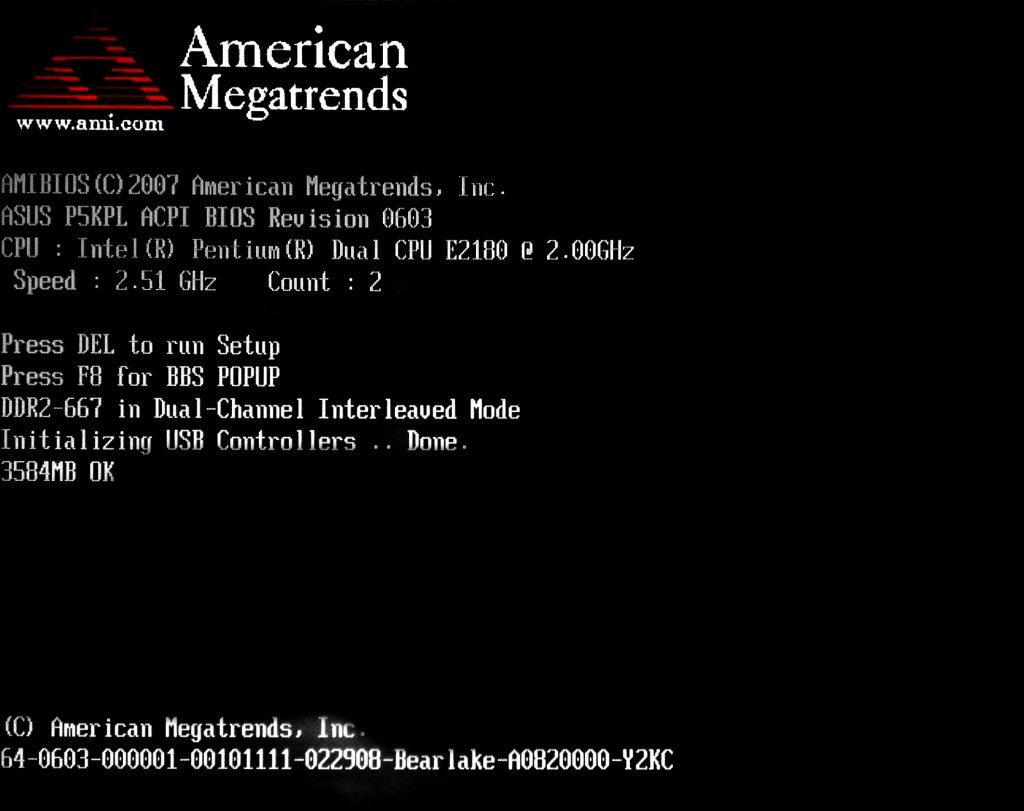 tela de post pc computador american
